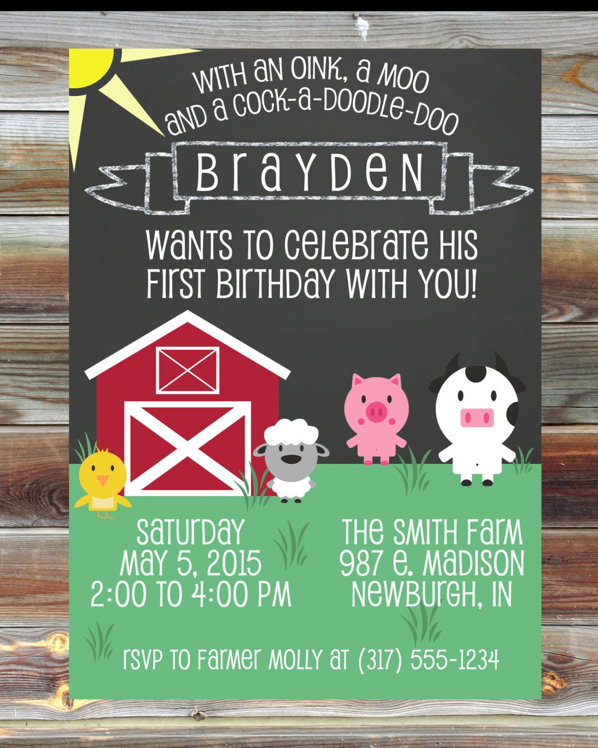 happy birthday invitation pictures%0A Printable Custom Chalkboard Farm Theme First Birthday Invitation   st  Birthday Boy Invitation  Farm Animal