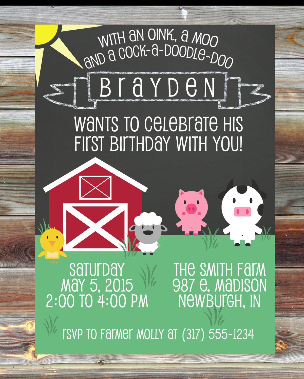 birthday party invitations printable%0A Printable Custom Chalkboard Farm Theme First Birthday Invitation  Birthday  Boy Invitation  Farm Animal Theme Birthday Party by ViaBarrett on Etsy