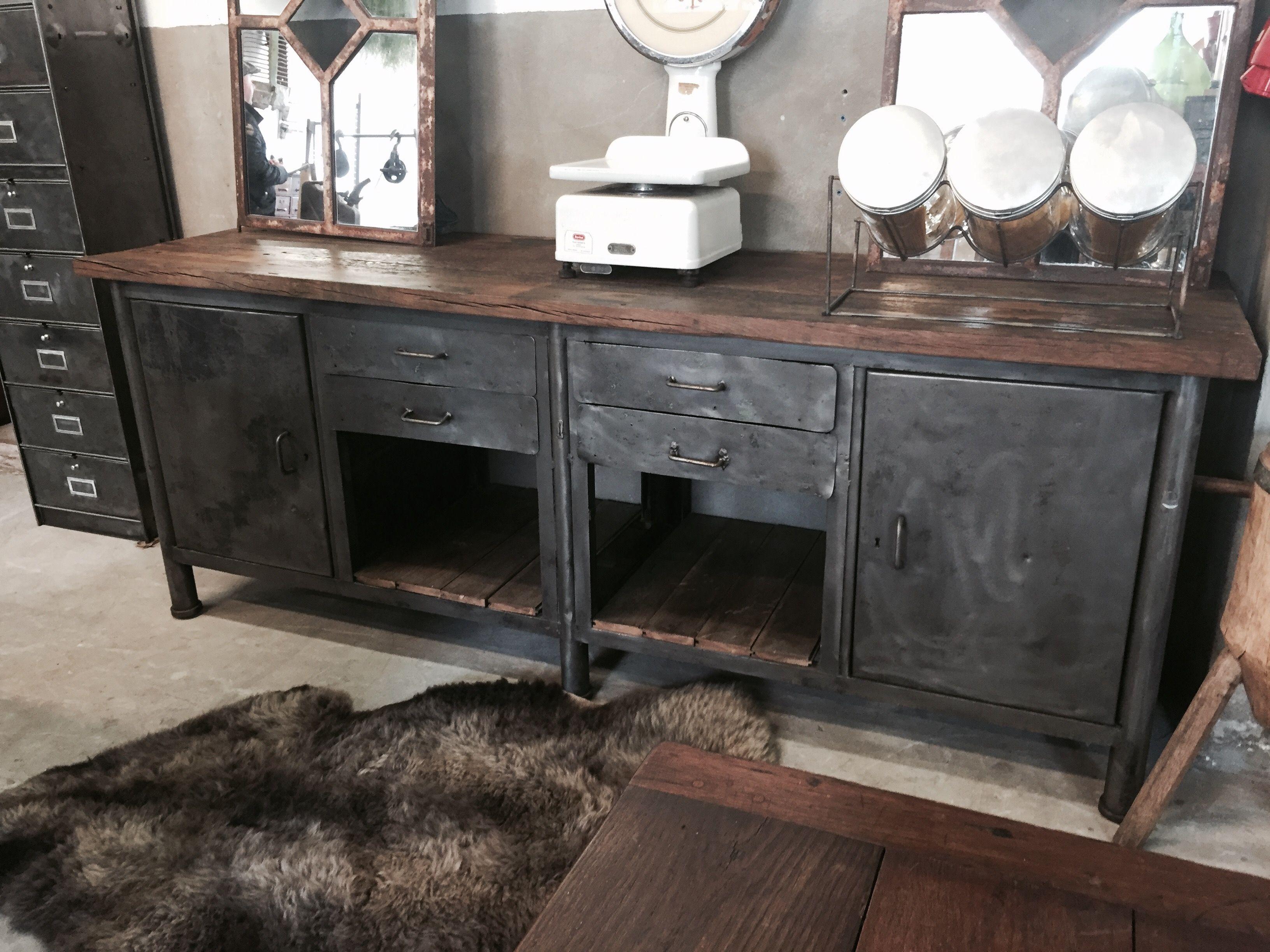 Industrieel dressoir oude werkbank my favourite ideas for a restyled livingroom - Credenza voor keuken ...