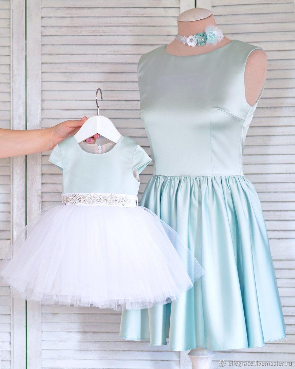 22e3dc55ff7 Купить Ментоловый фэмилилук - платье для девочки