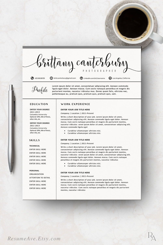Creative Sorority Resume Template With Calligraphy Name Etsy In 2020 Resume Template Word Resume Design Resume Design Template