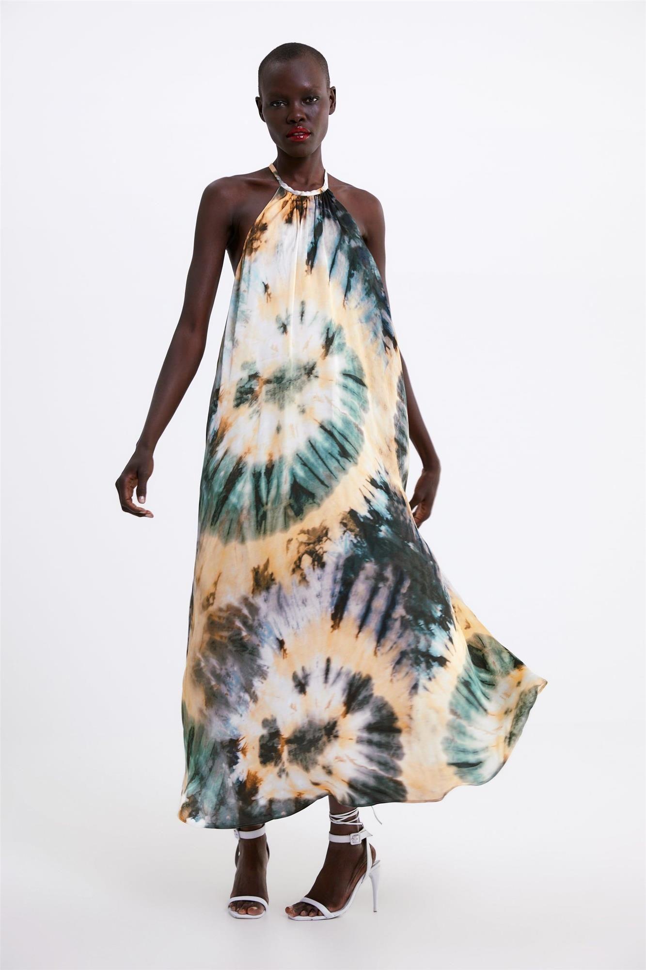 Vestido Estampado Tie Dye De Zara Vestidos Largos Estampados Vestidos Animal Print Vestidos Maxi De Verano