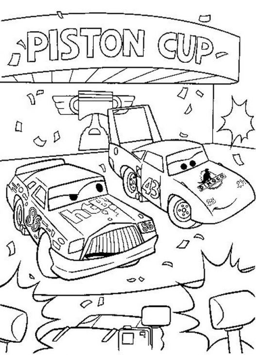 Chick Hicks And The King Of Disney Cars Printable Coloring Page ...