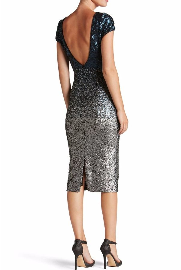 35b00e3e26a1 Dress The Population Marcella Navy Silver Ombre Sequin Midi Dress ...