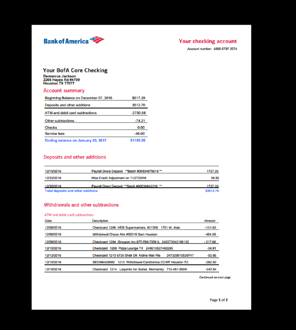 Bank Statement Bank America Template Income Earnings Monthly