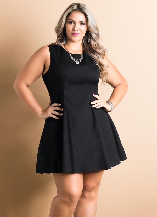 311049aa3 Quintess - Vestido Evasê Preto Plus Size - Quintess | Short dresses ...
