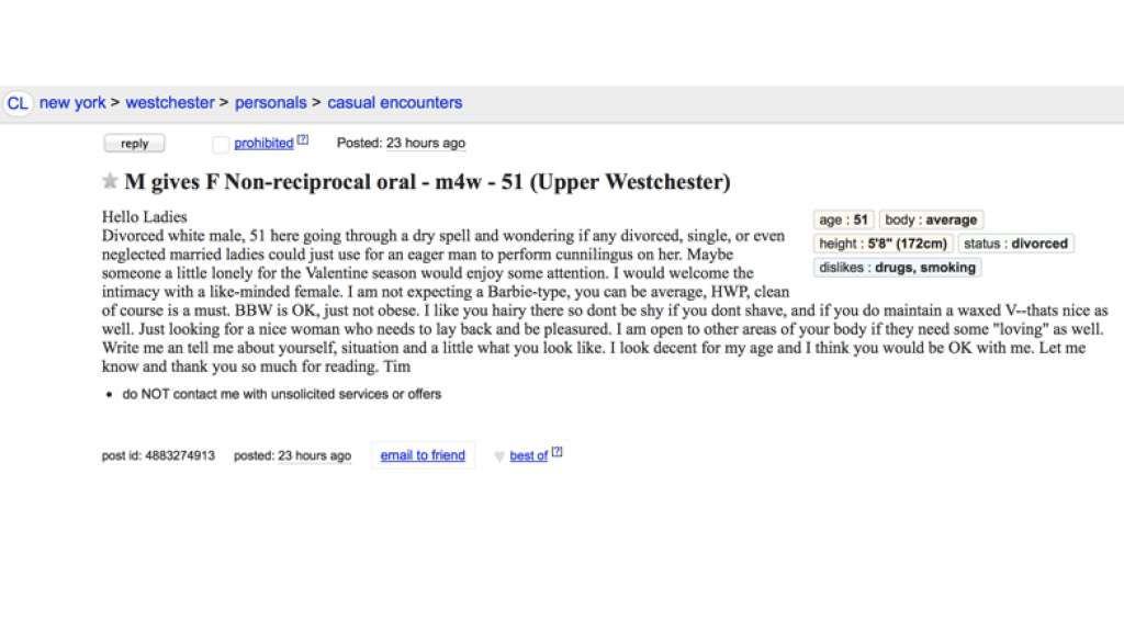 Craigslist personals westchester