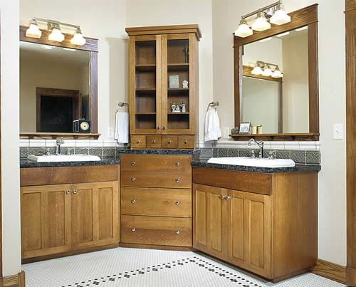 Double Vanity Corner Wrap Around Bathroom Storage