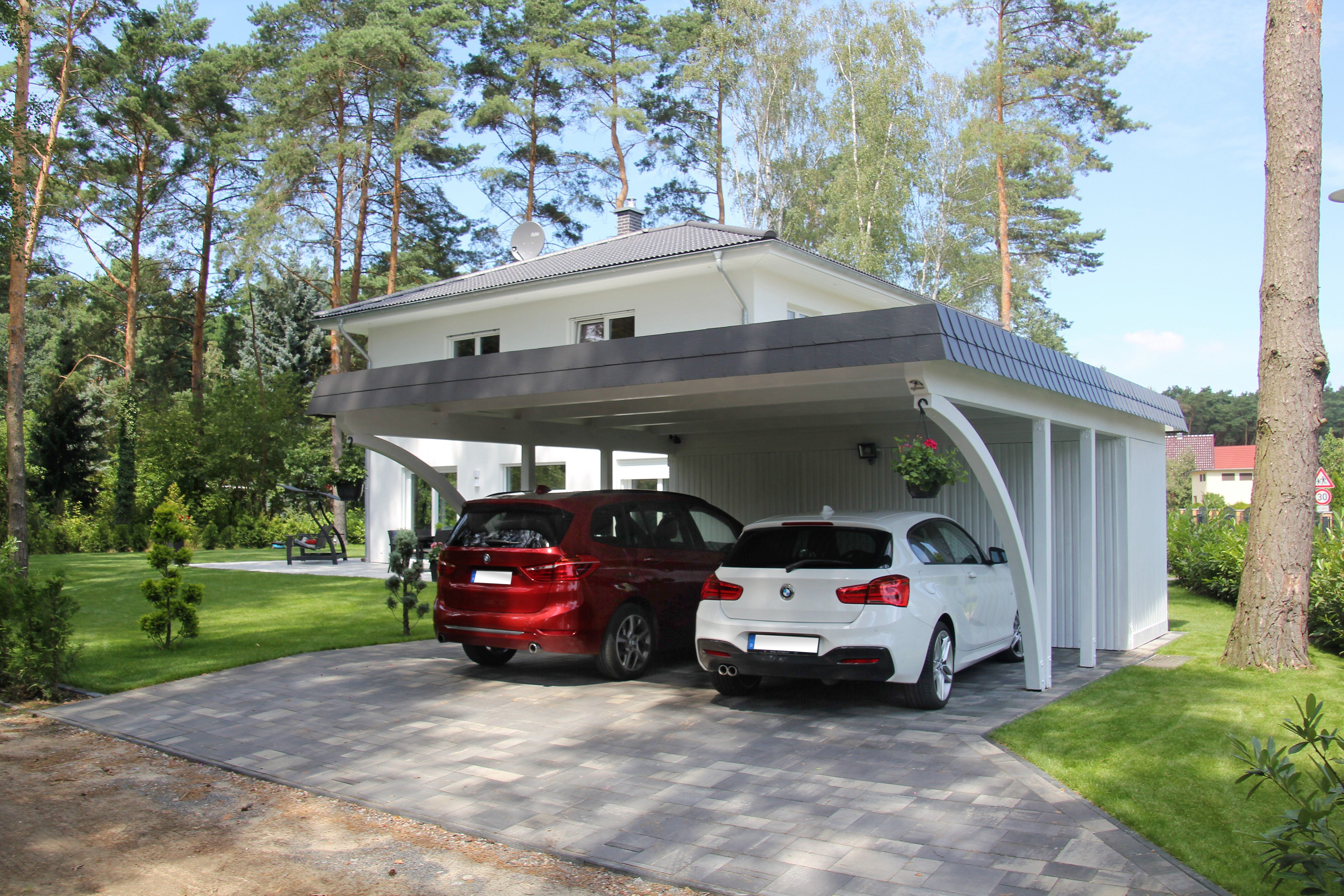 carport f r 2 autos mit ger teraum und rundb gen im. Black Bedroom Furniture Sets. Home Design Ideas