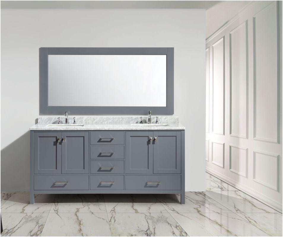 Design Element Dec082b London 72 Vanity Set With Cabinet Vanity Top Double Un Gray Fixture Vanity Double Bathroom Vanity Style Modern Bathroom Vanity