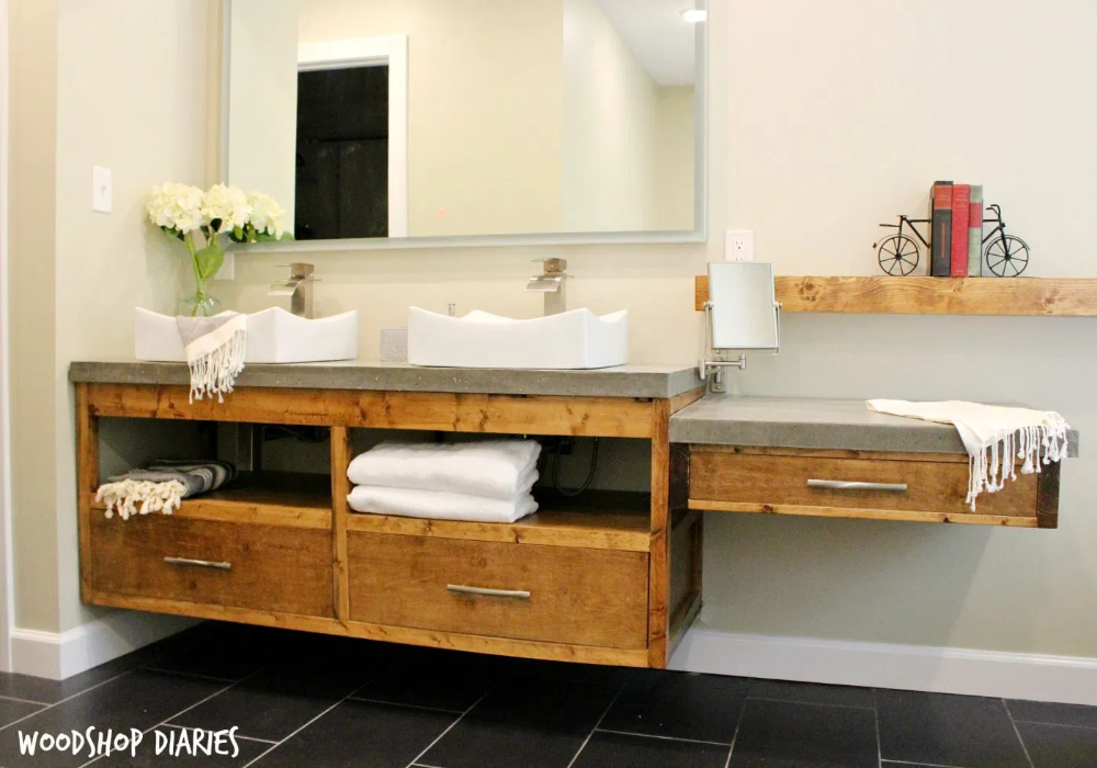 How to Build a DIY Modern Floating Vanity or TV Console #bathroomrenoideas