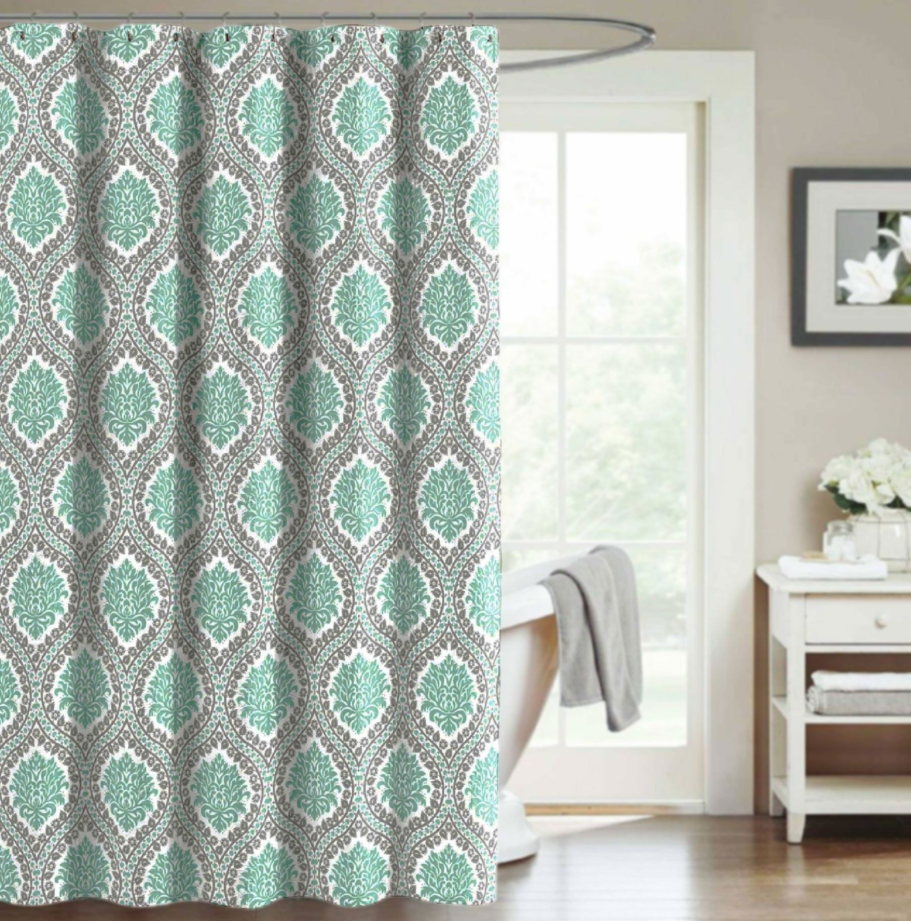 Crest home bellavista fabric shower curtain teal gray medallion