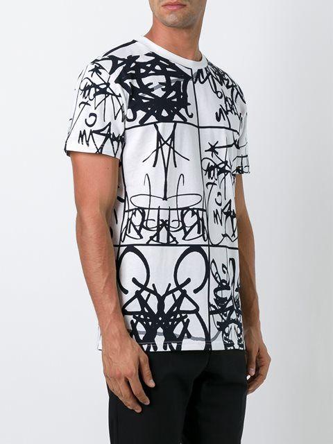 Moschino Graffiti Print T Shirt Graphic Design White Black