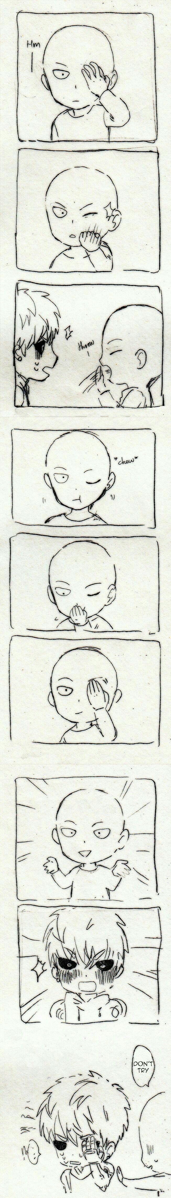Genos, Saitama, comic, text, funny, magic trick, popping eye, cute, chibi; One Punch Man