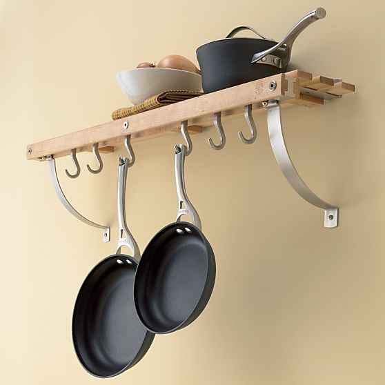 Maple Wall Mounted Pot Rack In Racks Crate And Barrel