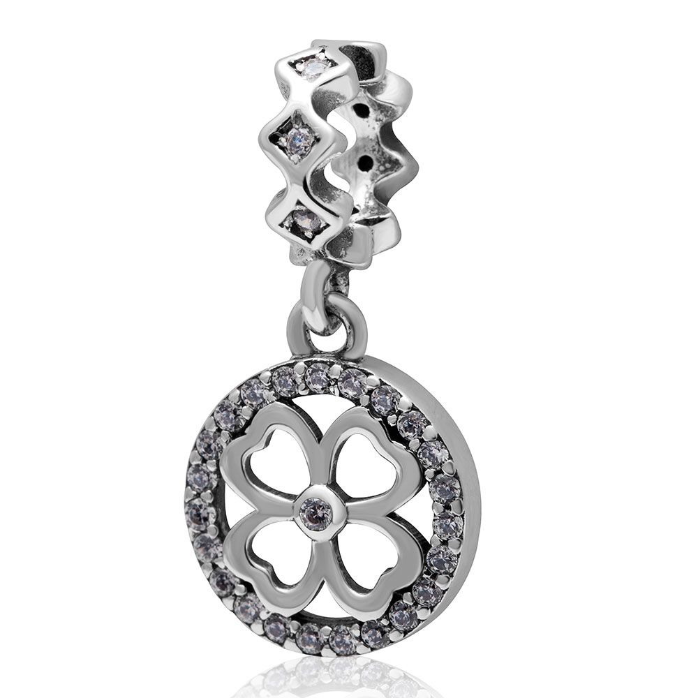 3af65f45bb9de Fits Pandora bracelet Paving white zircon Love Heart Flower charm ...