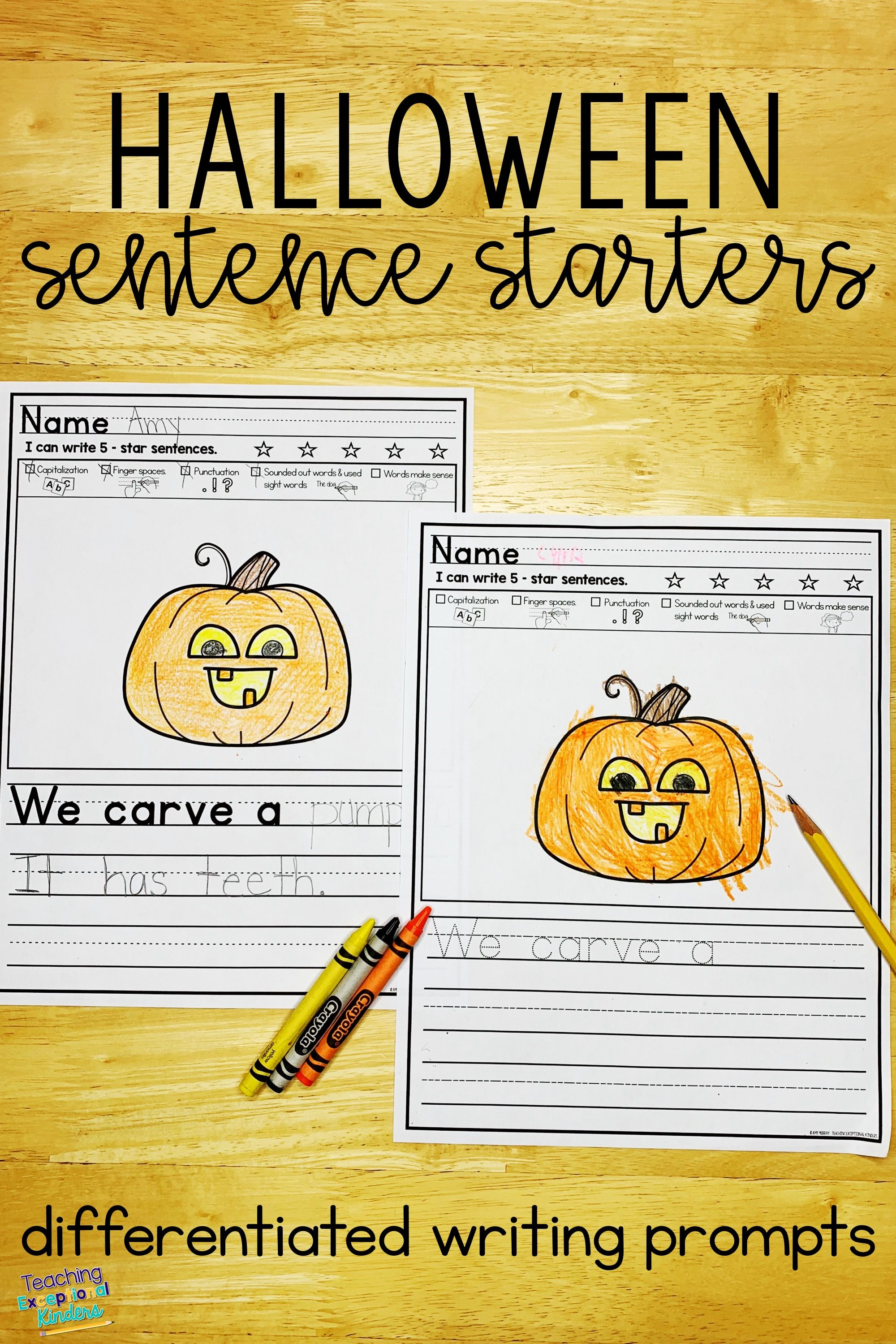 Halloween Picture Writing Prompts Sentence Starters