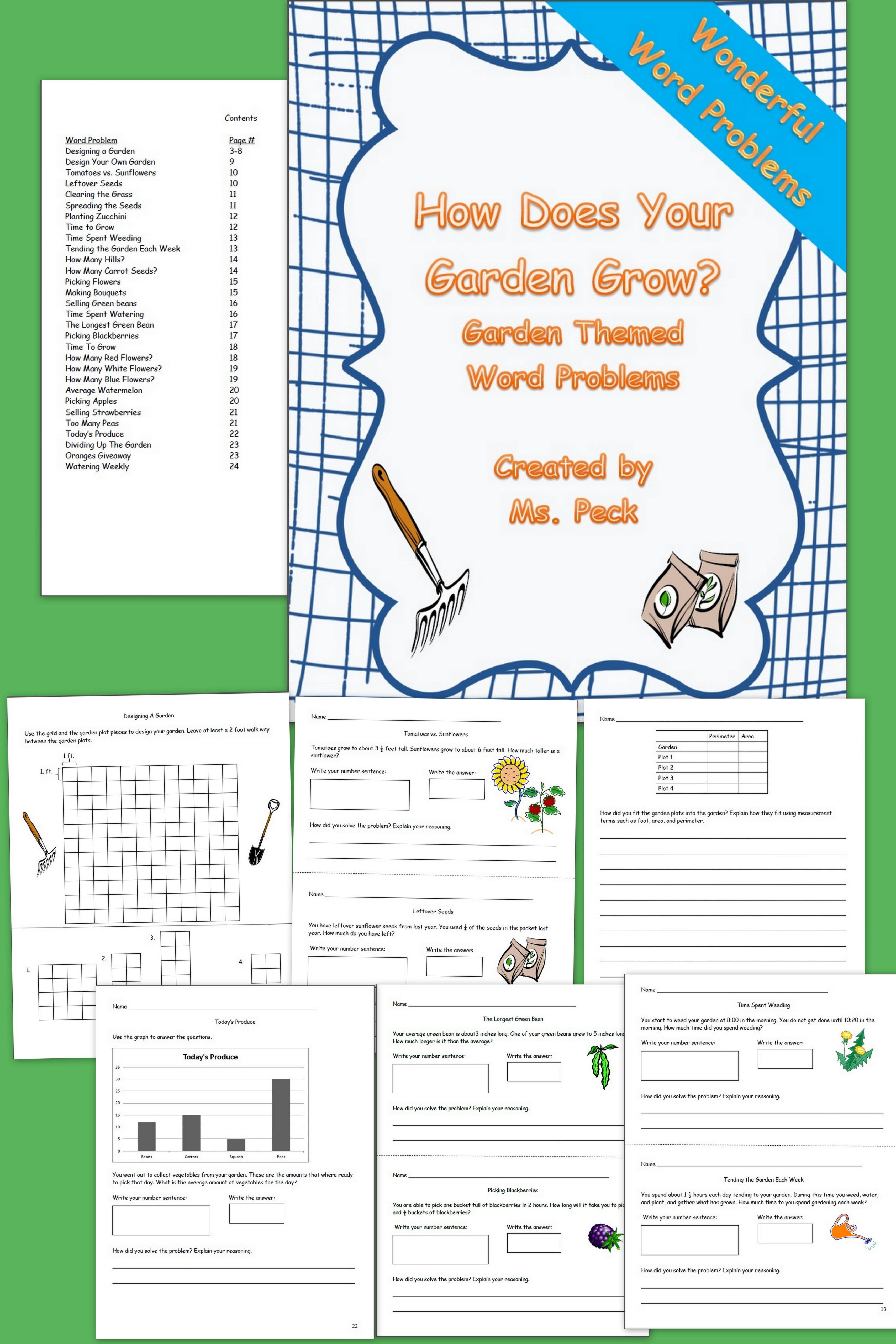 Garden Themed Word Problems Includes Practices In Area Perimeter Fractions Multiplication