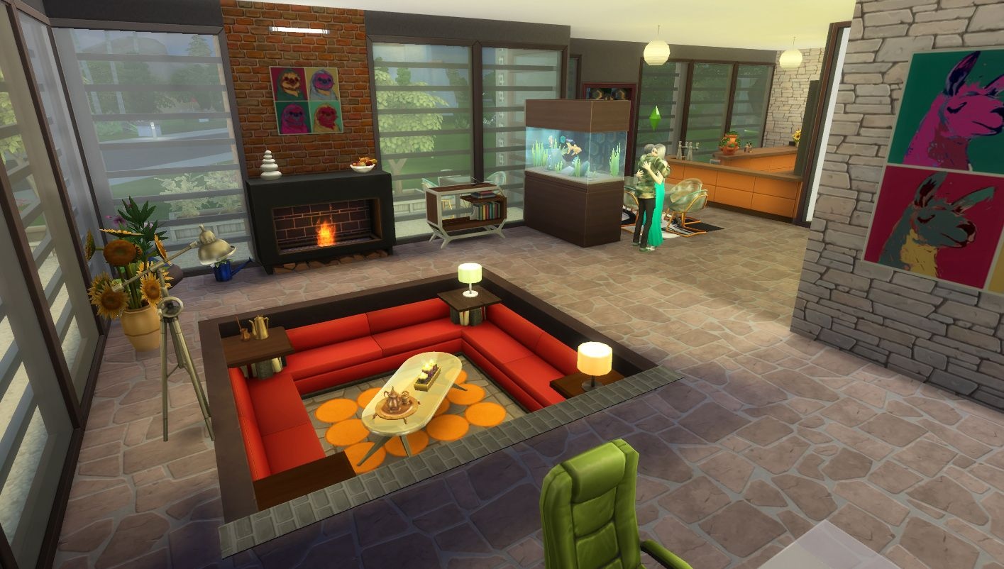 A 1970's style house with a conversation pit. Groovy