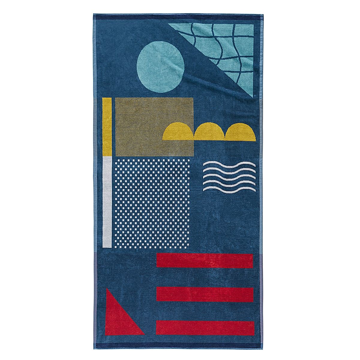 Swimming pool beach towel in 100% cotton velour towelling, 400g/m². One side multi-coloured bouclé towelling, one side printed velour towelling.product details: •  100% cotton towelling, 400 g/m² •  one side multi-coloured bouclé towelling, one side printed velour towelling •  washable at 60°c •  tumble drysize: •  90 x 180cmsee the full range of bath linen online.additional information: •  the oeko-tex® label guarantees that the items tested and certified do not contain any harmful substances t