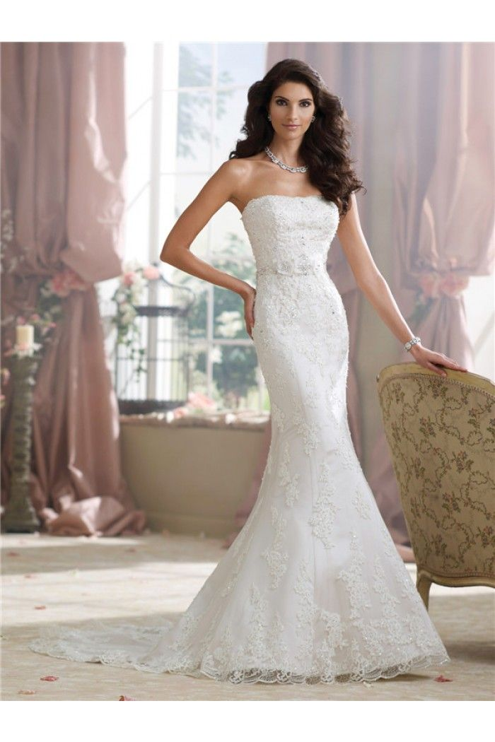Slim Fitted Mermaid Strapless Lace Beaded Wedding Dress With Crystals Flowers