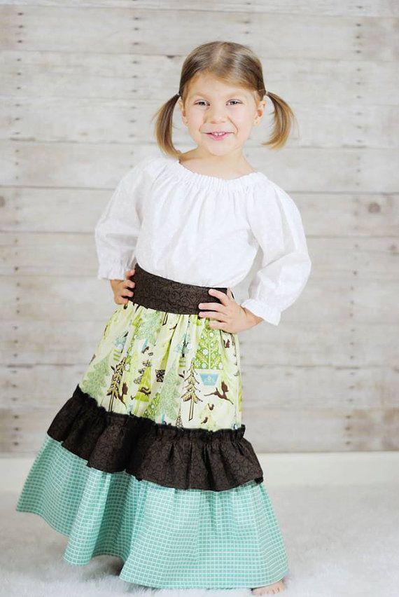 5fa9b3de2819f Little Girls Christmas Skirt Maxi with Loads Ruffles - handmade, boutique,  kidsfashion