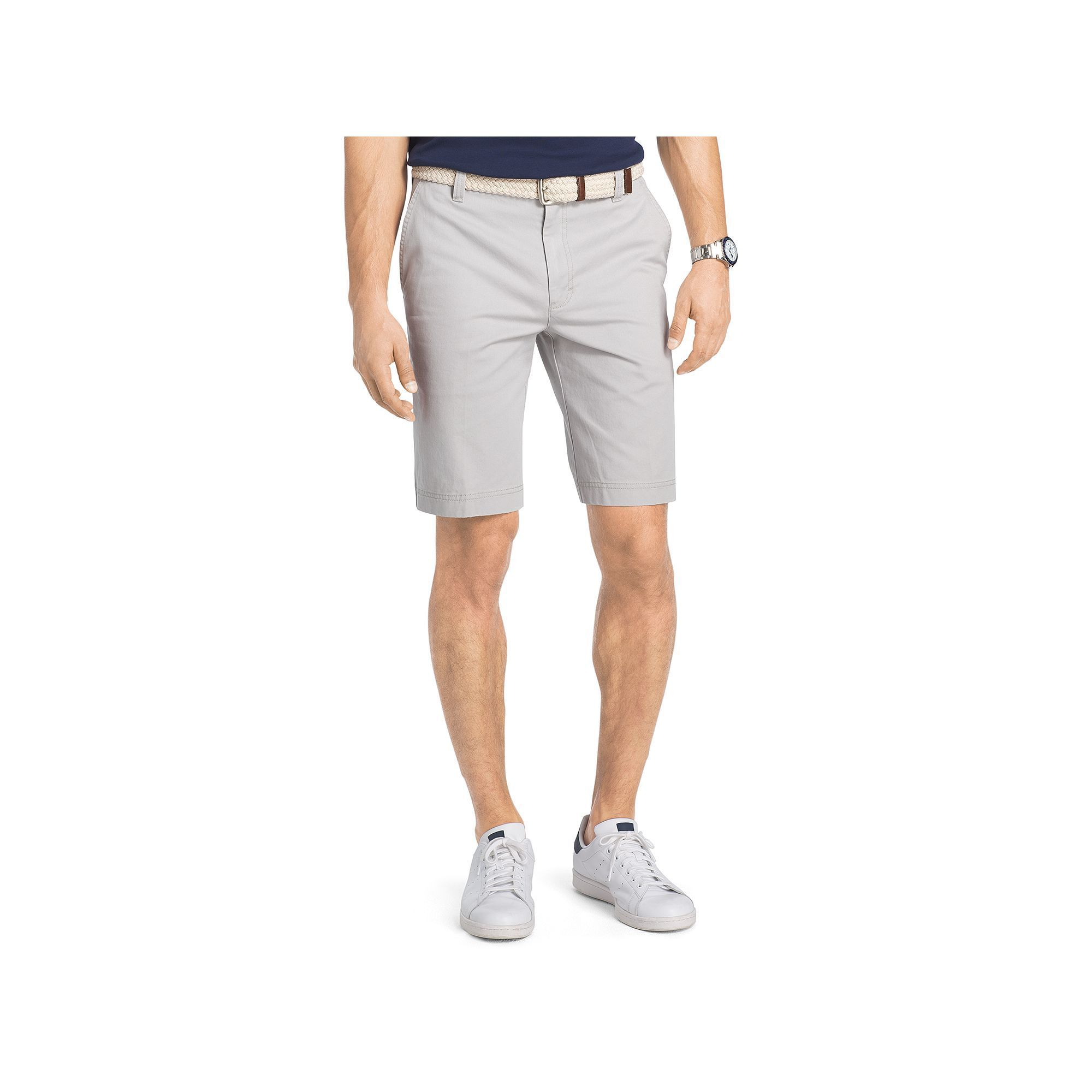 Big & Tall IZOD Saltwater Classic-Fit Solid Flat-Front Chino Shorts, Men's, Size: 46, Light Grey