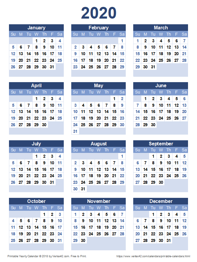 Calendrier 2020 Pinterest.Download A Free Printable 2020 Yearly Calendar From Vertex42
