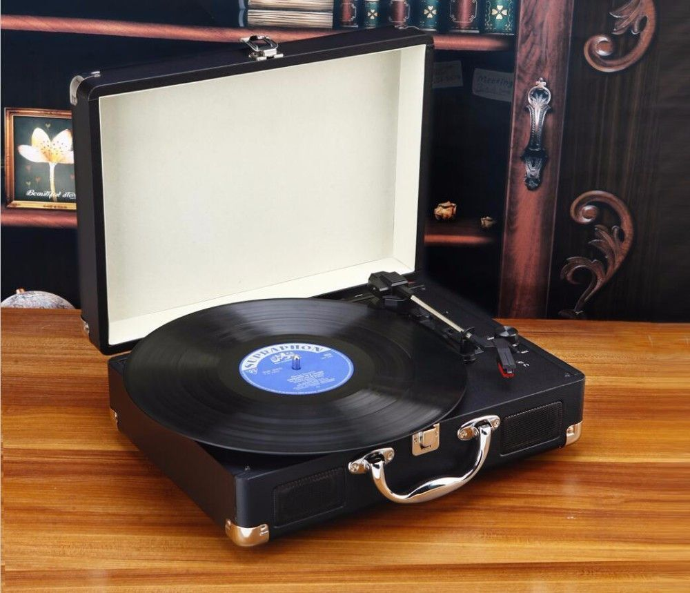 Portable 3 Speed Stereo Turntable Retro LP Vinyl Record Player Built In  Speakers In