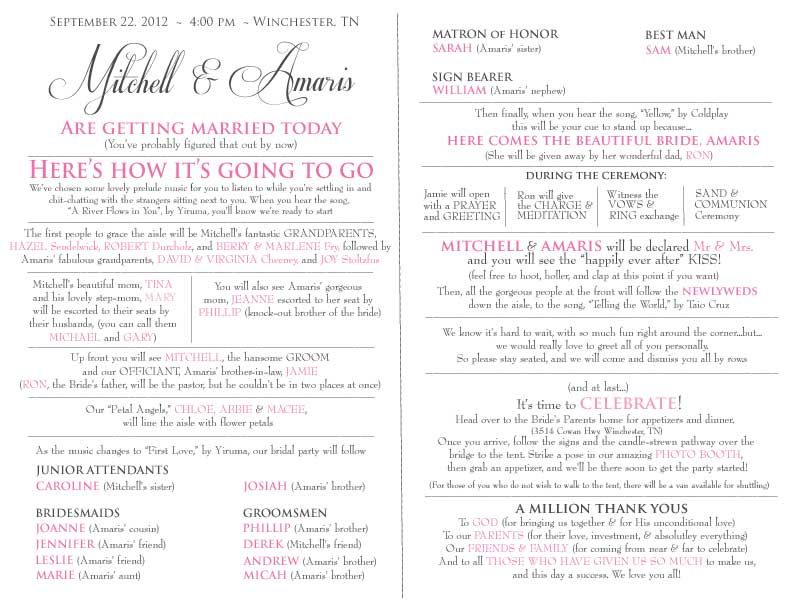 Creative Wedding Program Wording  Email This Blogthis Share To