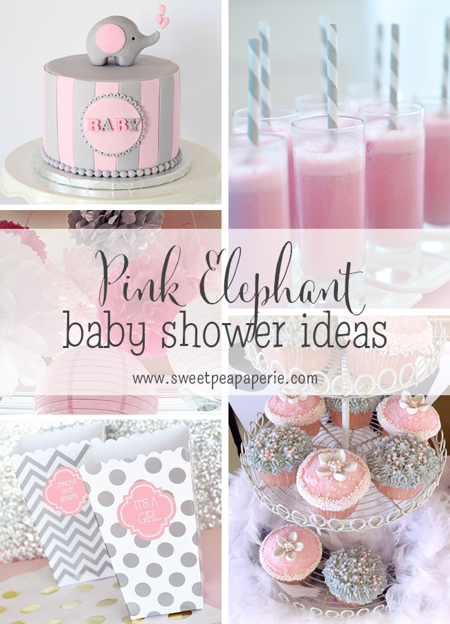 Pink and gray elephant baby shower ideas baby shower for Baby shower decoration themes for girls