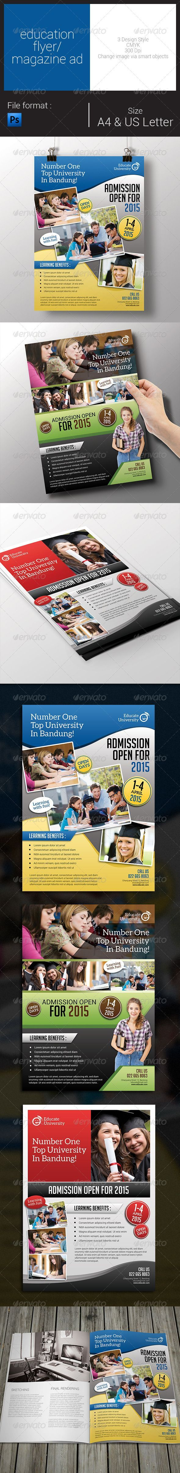 Education Flyer / Magazine Ad — Photoshop PSD ad • Available here → graphicriver.net/ Source link