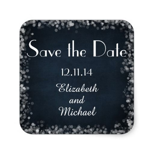 Classy Black Chalkboard Bokeh Lights Save the Date Sticker