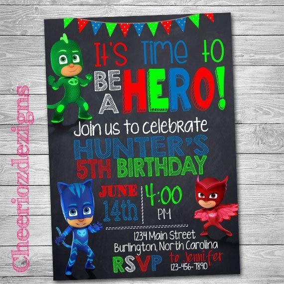 Pj Masks Birthday Invitation Pj Mask Birthday By CheeriozDezigns - Pj masks invitation template free
