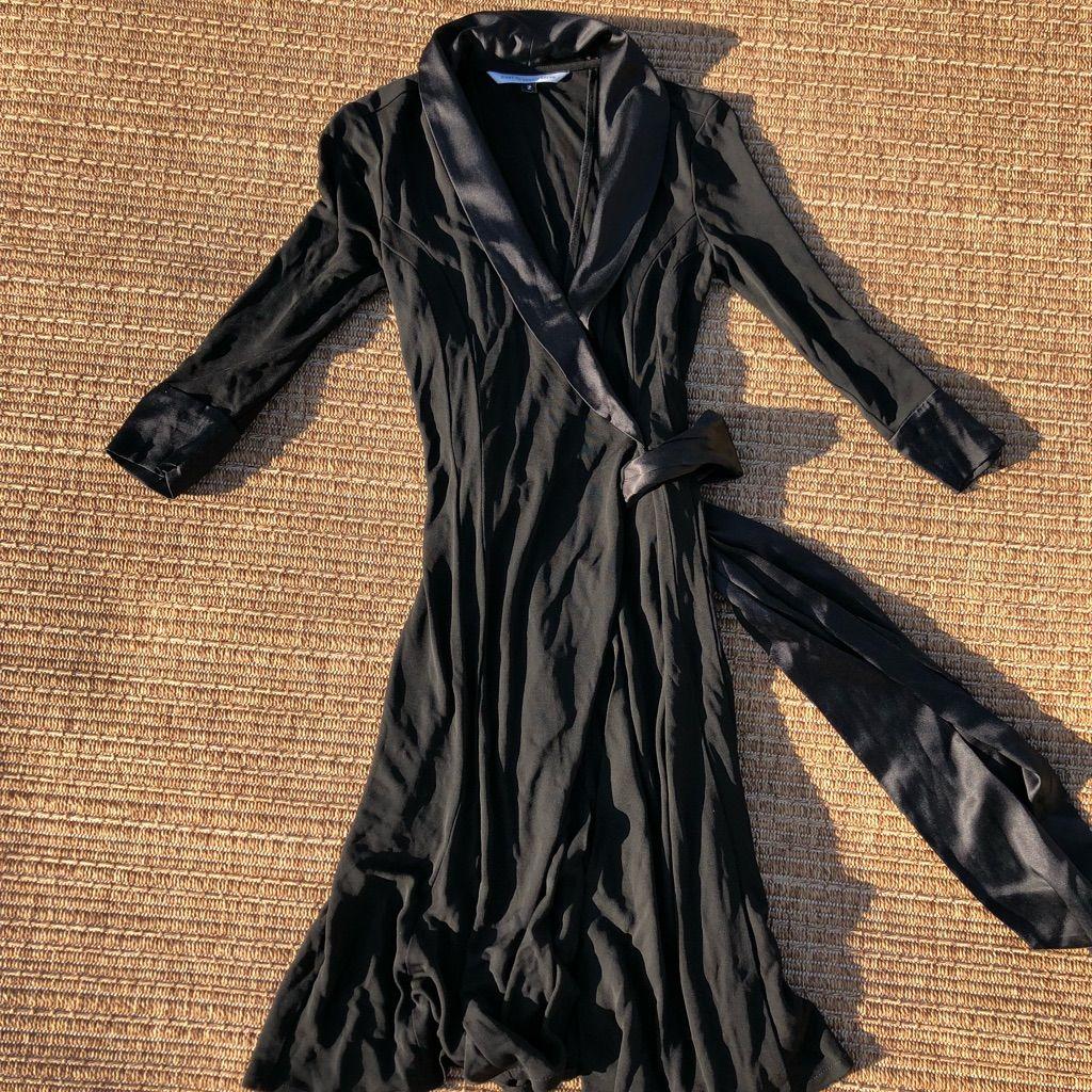 Dvf black silk long sleeve wrap dress wrap dresses silk and wraps