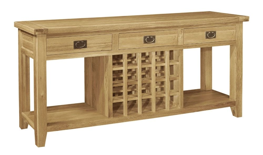French farmhouse oak console table with wine store