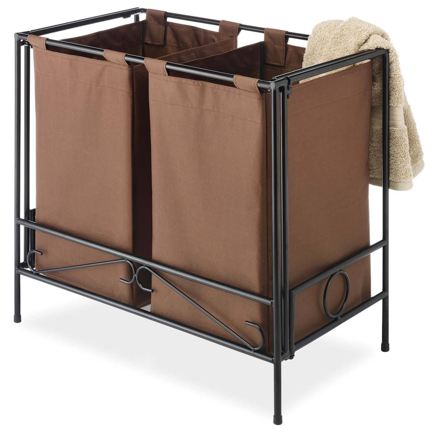 This fashion forward laundry hamper boasts a stylish wrought iron ...