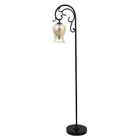 64 Textured Floor Lamp With Mercury Glass Shade Bronze J Hunt