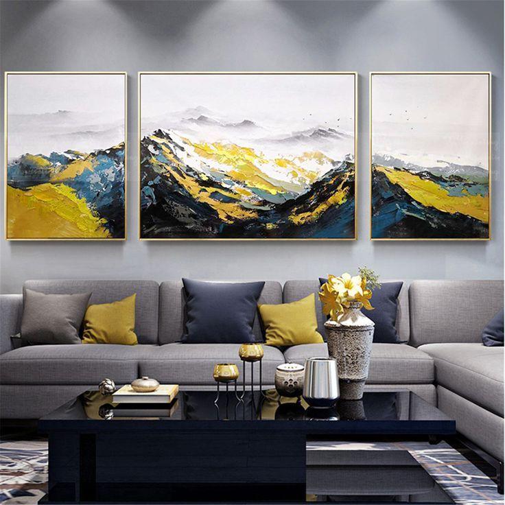 3 pezzi di pittura a olio astratta su tela quadri su tela ...