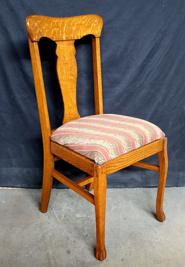 Antique Quartersawn Oak Wood Fiddle Back Dining Side Chair Fabric Seat Cushion