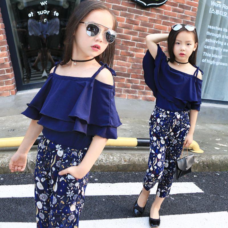 d14190cba Girls Sets Clothes Kids Fashion Tops Floral Pants Two Piece Set ...