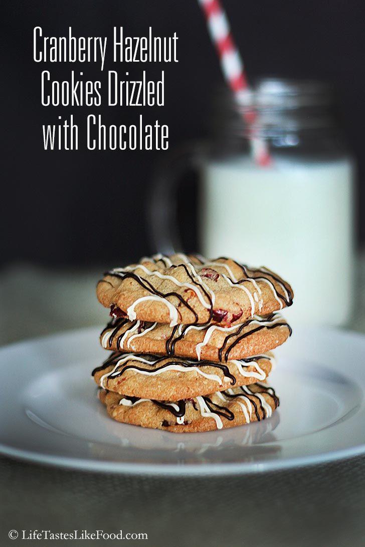Cranberry Hazelnut Cookies Drizzled with Chocolate Recipe #fbcookieswap