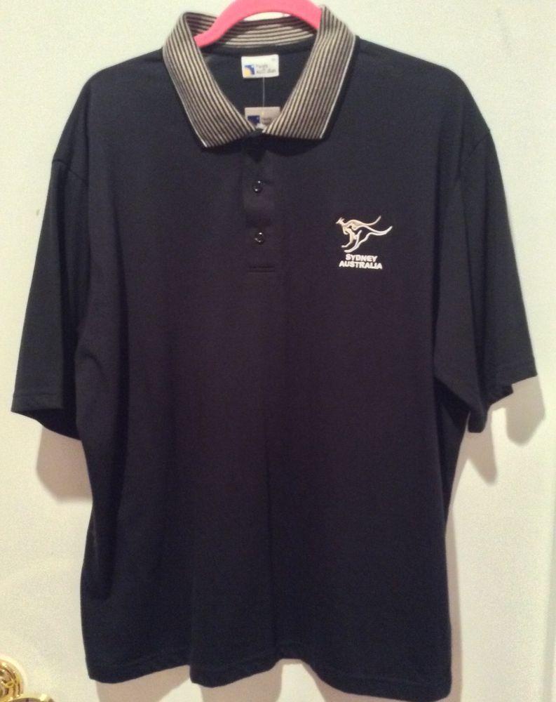 Purely Australian New Black Polo Shirt Embroidery Golfer Logo