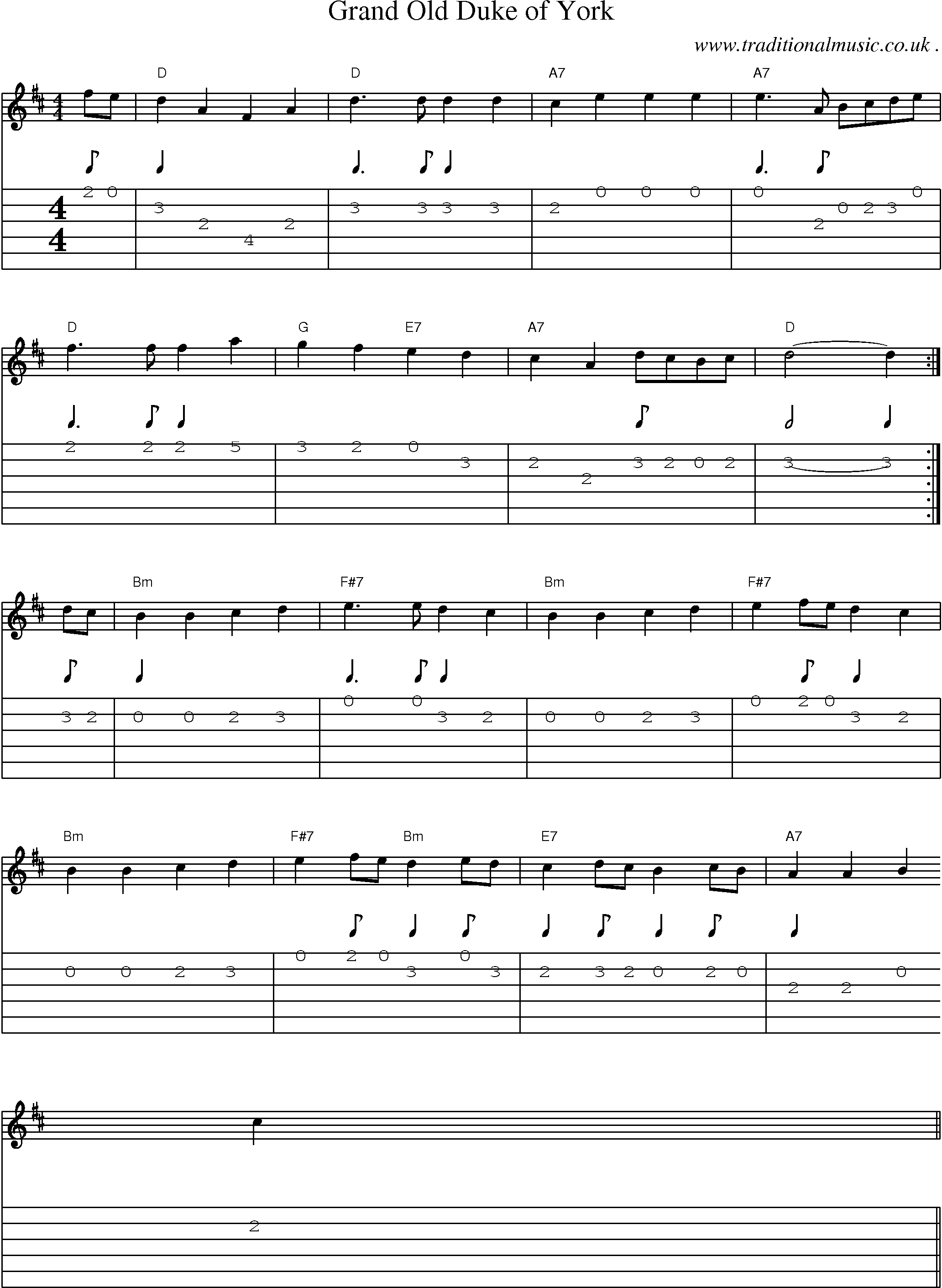 Sheet Music And Guitar Tabs For Grand Old Duke Of York