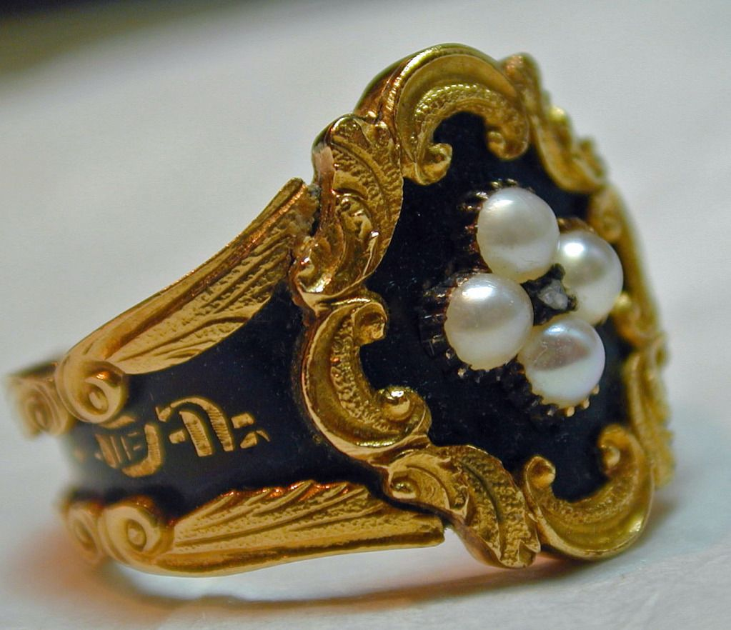 Antique Enamel Pearl Gold Memorial Ring | From a unique collection of vintage more rings at http://www.1stdibs.com/jewelry/rings/more-rings/