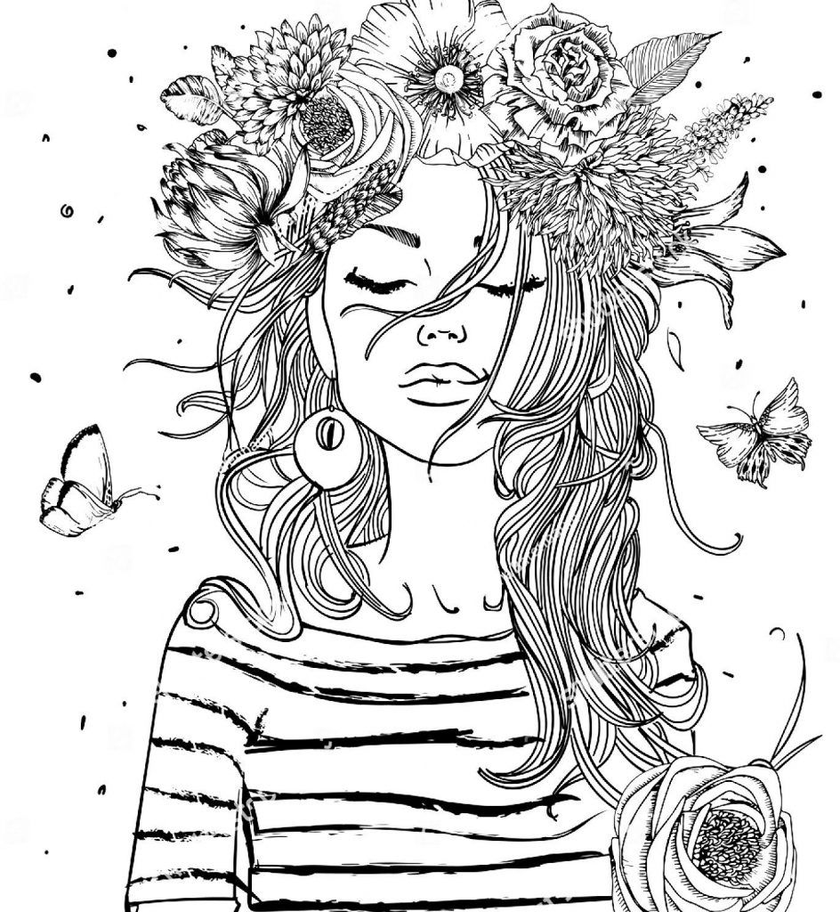 Girl Coloring Pages Coloring pages, Adult coloring book