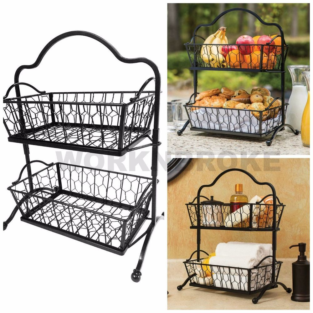 2 Tier Wrought Iron Wire Basket Storage Fruit Rack Holder Kitchen Bath Organizer Twotier Storage Baskets Wire Baskets Wire Basket Storage