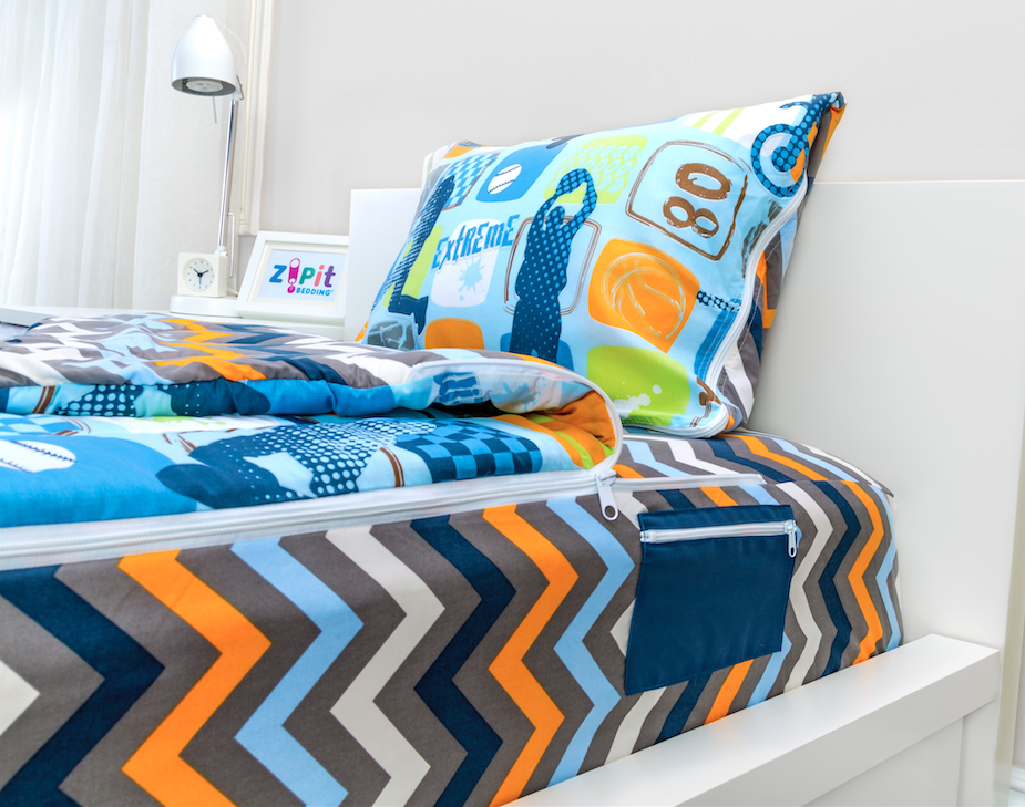 Zipit Bedding has an easy zipper for an always made/tucked