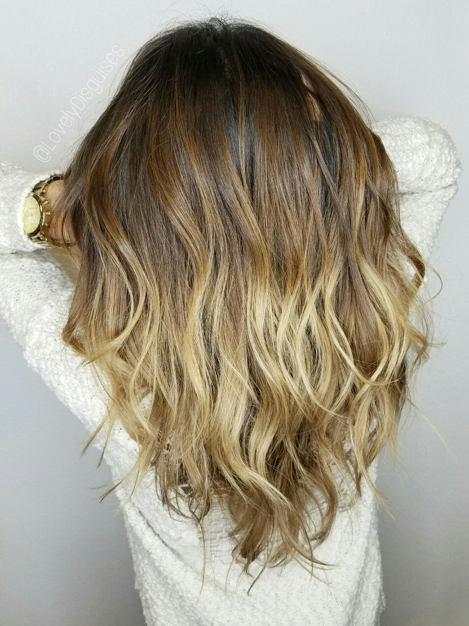 Sombré balayage ombré color melts highlights blonde long hair
