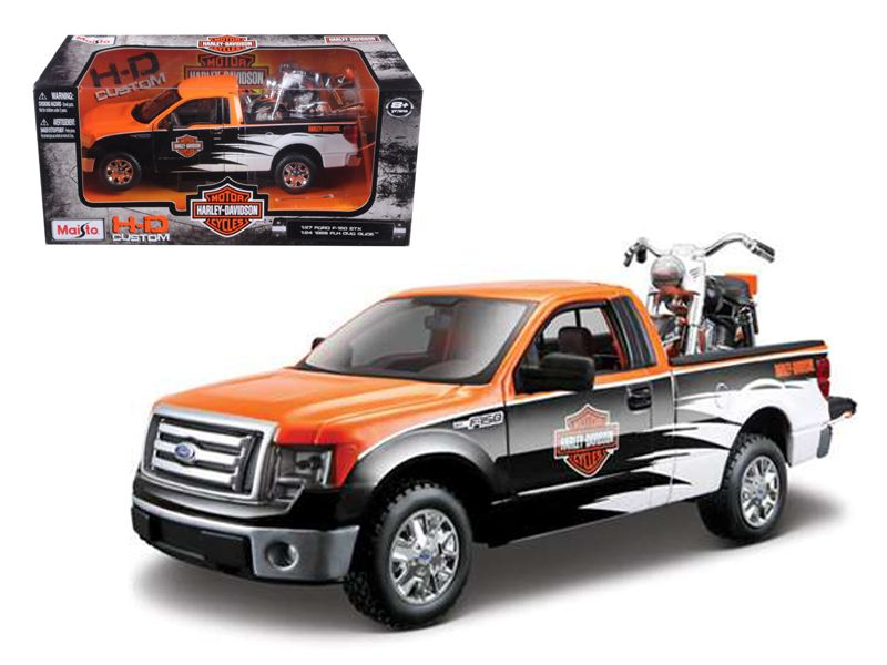 """Harley Davidson 2010 Ford F-150 Pickup Collectible 8/"""" Diecast 1:24 Maisto Toy OR"""